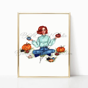 "brooke-ashley-collection-bac-art-studio - ""Pumpkin Picking"" Art Print -  - Brooke Ashley Collection BAC Art Studio"