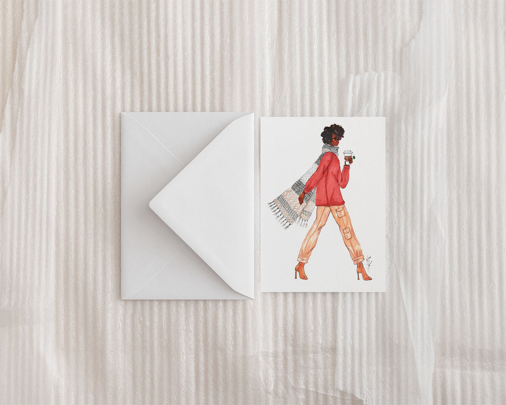 """Scarf and Latte"" Greeting Card - Brooke Ashley Collection"