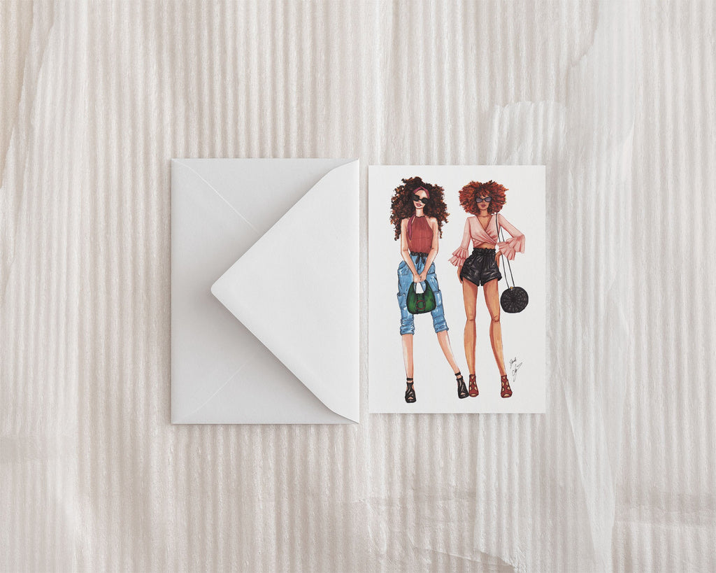 """City Girls"" Greeting Card - Brooke Ashley Collection"