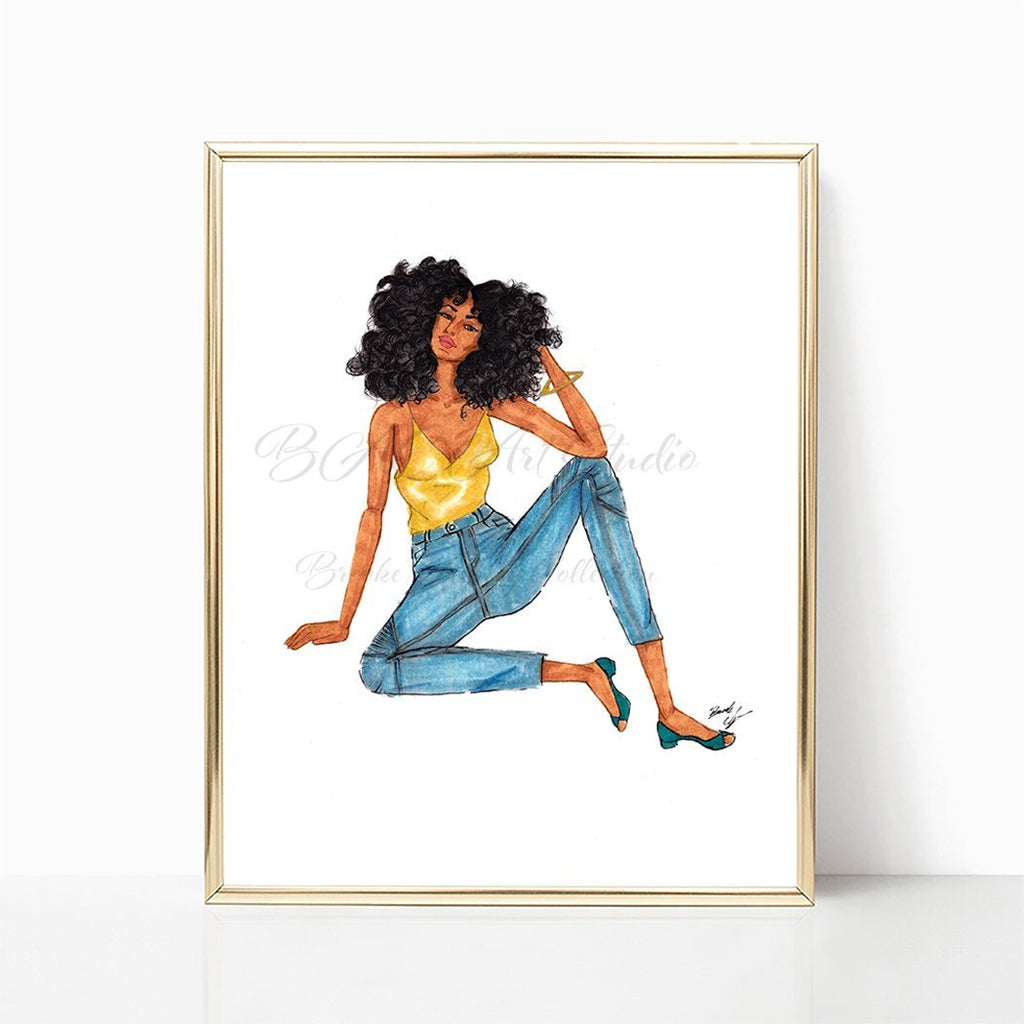"brooke-ashley-collection-bac-art-studio - ""Curly Girl"" Art Print -  - Brooke Ashley Collection BAC Art Studio"