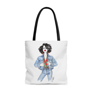 "brooke-ashley-collection-bac-art-studio - ""Floral & Denim 1"" Tote Bag -  - Brooke Ashley Collection BAC Art Studio"