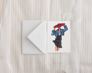"""Girl in the Red Hat"" Greeting Card"