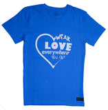 "Cool Blue ""wear love everywhere you go"" unisex Christian T-Shirt"