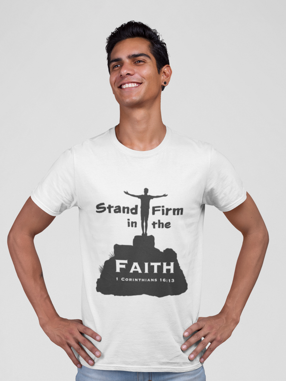 "White ""Stand firm in the faith"" unisex christian t-Shirt"