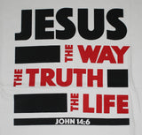 "White ""Jesus - Way, Truth and Life"" unisex Christian t-shirt"