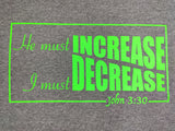 "Gloomy Grey ""He must Increase, I must Decrease"" unisex Christian T-Shirt"