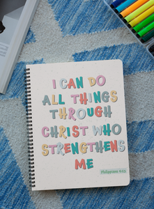"""I can do all things through Christ"" Premium Wiro Bound Christian Notebook (A5)"