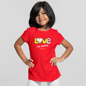 "Red ""Love one another"" girls christian t-shirt"