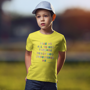 "Yellow ""I can do all things through christ"" boys christian t-shirt"