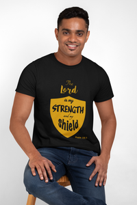 "Black ""The Lord is my strength and my shield"" unisex Christian T-Shirt"