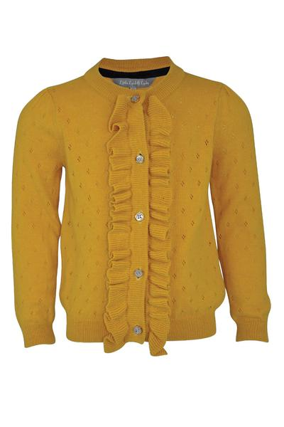 girls toddler baby cardigan knit mustard yellow pointelle frill wool pearl buttons classic elegant vintage traditional retro autumn