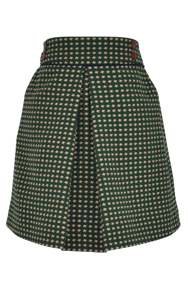green emerald forest gold print dogtooth skirt pleat box inverted buttons elasticated elegant vintage twirl lined classic casual retro