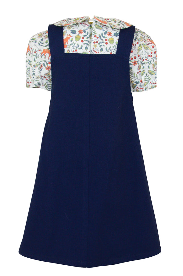 Rosamund : Blue pinafore & blouse set