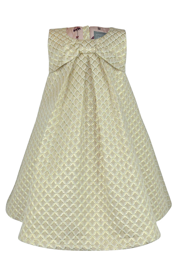 cream gold white jacquard girls dress diamond lined christmas party  elegant buttons sleeveless aline a-line