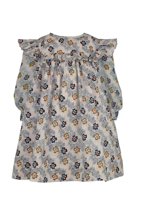 girls baby toddler dress floral print navy caramel brown white cream empire line button frill chiffon long sleeve button trim cuffs unique elegant casual vintage retro classic lined