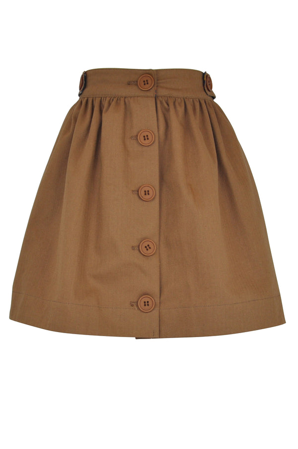tan brown caramel skirt cotton girls print buttons pockets vintage retro