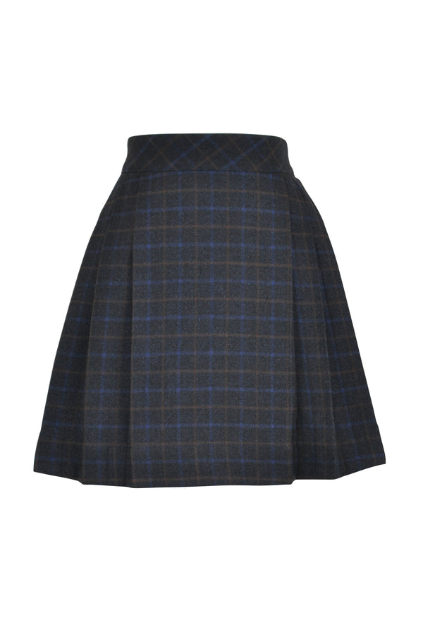 navy caramel check skirt tweed girls vintage retro wrap