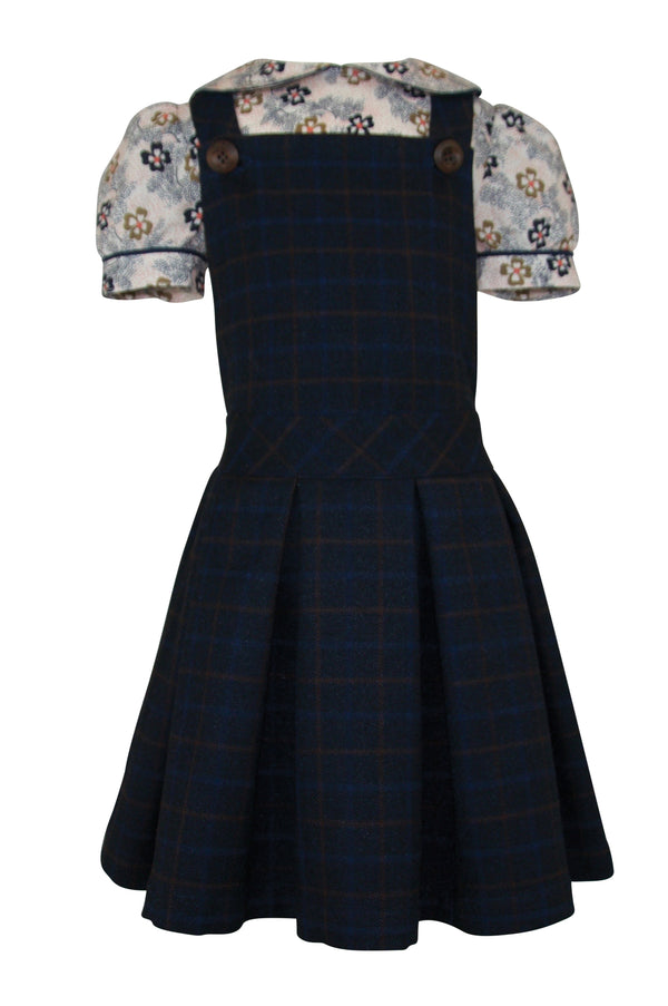 navy caramel check pinafore tweed girls blouse collar cap sleeve floral print caramel grey pockets vintage retro