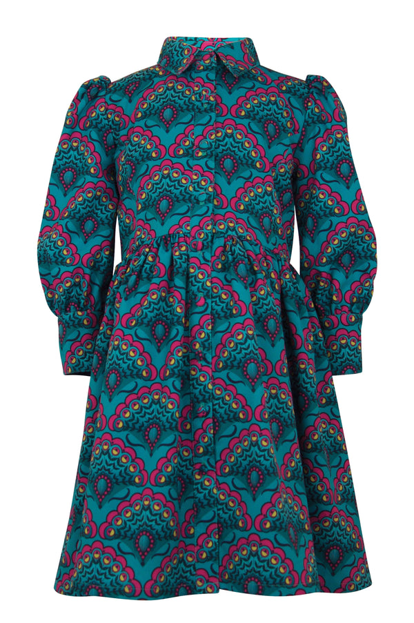girls dress peacock teal emerald pink navy print collar long sleeve trim cuffs unique elegant casual vintage retro lined