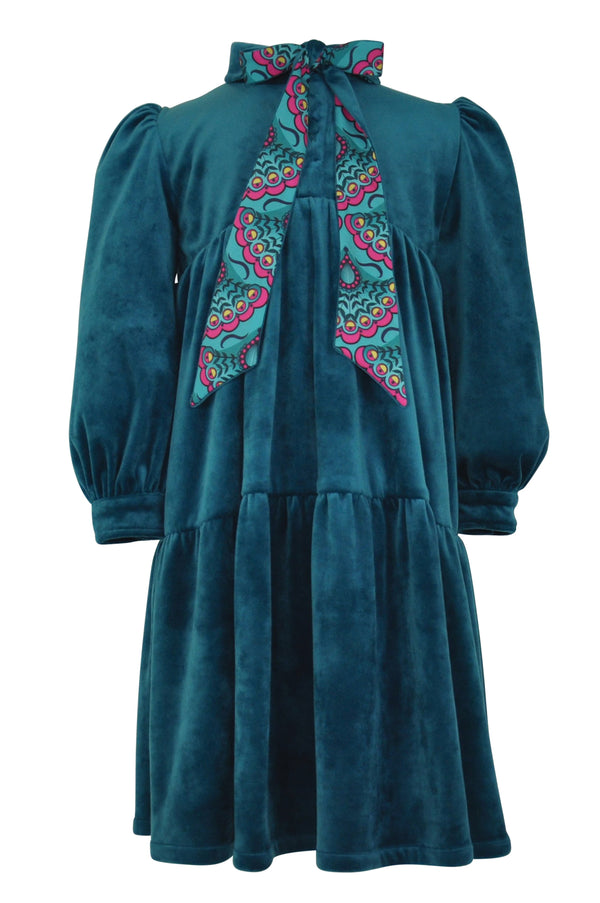 girls dress peacock teal emerald velvet tiered hig collar bow sash tie pussybowtwirl trim long sleeve cuff unique elegant casual vintage retro classic lined