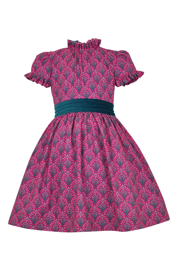 girls dress pink magenta grey white taupe peacock print high collar teal waistband trim buttons cuff detail cap sleeve petticoat pettiskirt teal nets elegant classic vintage retro lined