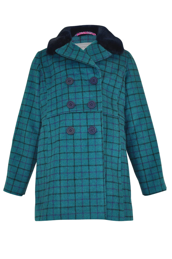 girls teal navy blue wool coat check plaid lined pink double breasted buttons velvet collar winter  long sleeve heavy thick warm classic vintage retro elegant