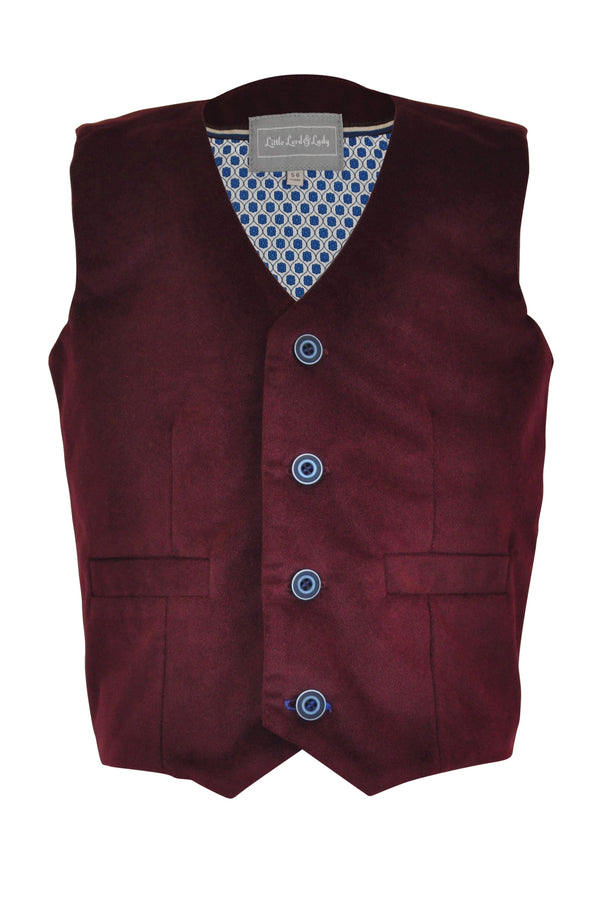 maroon burgundy red brown boys waistcoat velvet buttons lined pockets smart dapper vintage