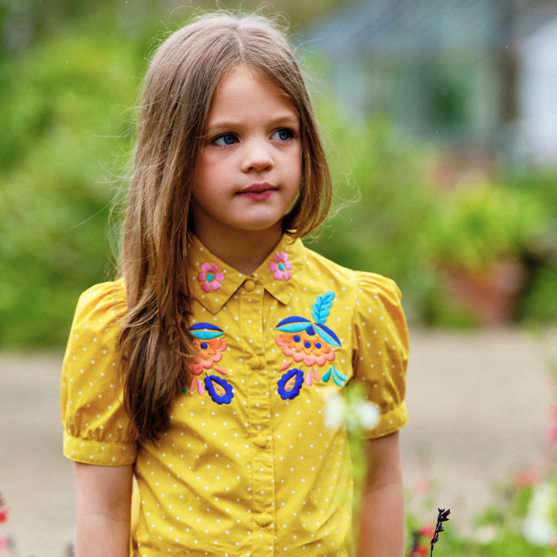Peggy: Yellow embroidered blouse