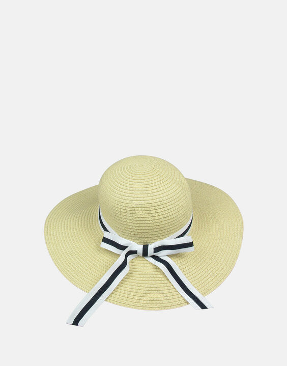Kitty: Straw Sun Hat Navy Stripe