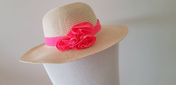 Kitty:Pink Flower Straw Sunhat