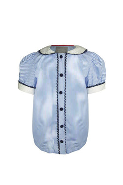 baby pale blue and white stripe pin stripe girls blouse trim lace navy buttons bap sleevescollar princess luxury lined holiday school wedding