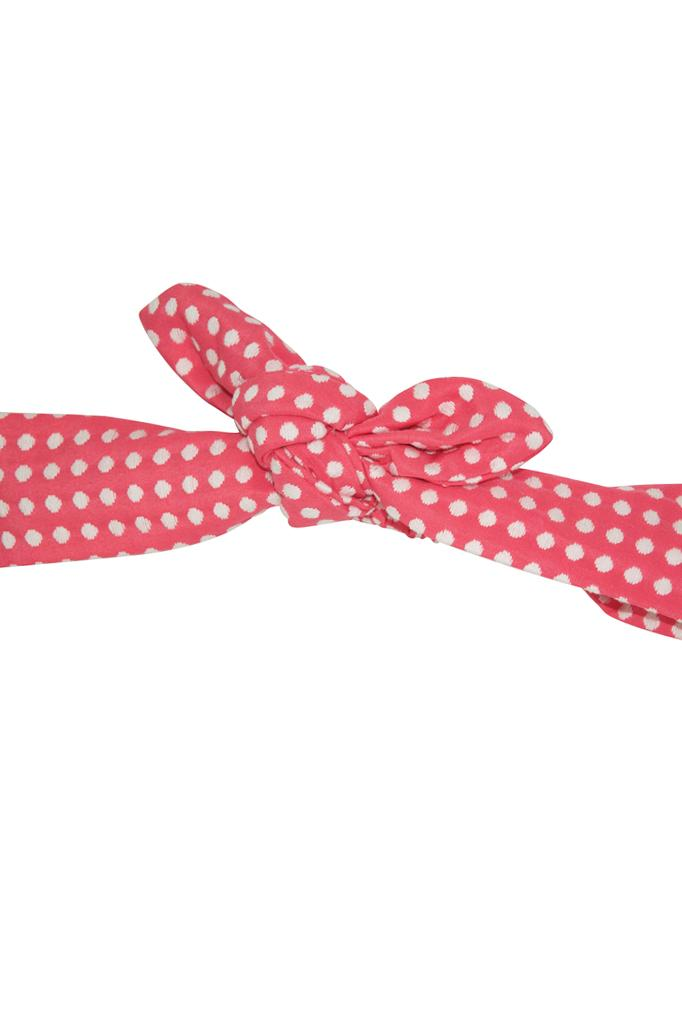 pink coral jacquard textured white polka dot spot girls headband knotted accessories luxury holidays wedding casual