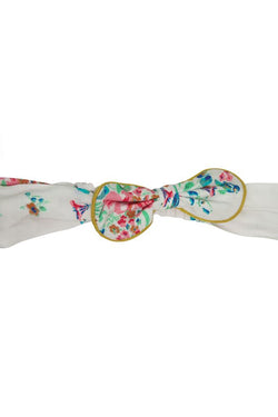 white with bright floral print cotton cheesecloth soft boho trim piping girls headband bow princess holidays casual