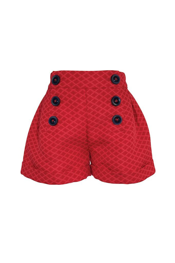 red jacquard girls shorts turn up lined buttons trim adjustable waist smart princess holidays