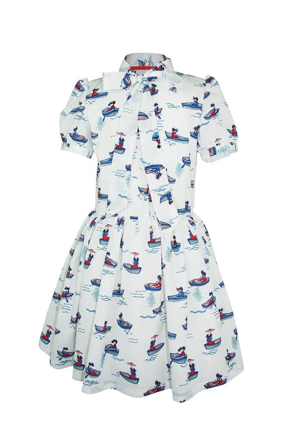 white with a red and blue boat print shirt top girls dress frill  short cap sleeves pussy bow collarlined petticoat pettiskirt princess luxury church wedding holiday