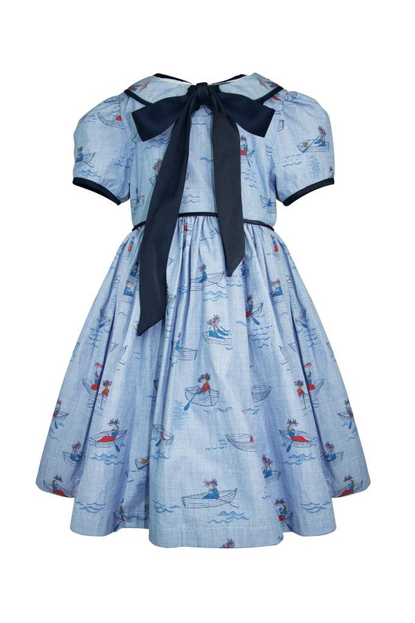 chambray blue with red boat print cotton girls dress pussy bow collar cap sleeves trim piping lined petticoat pettiskirt luxury wedding holidays casual church