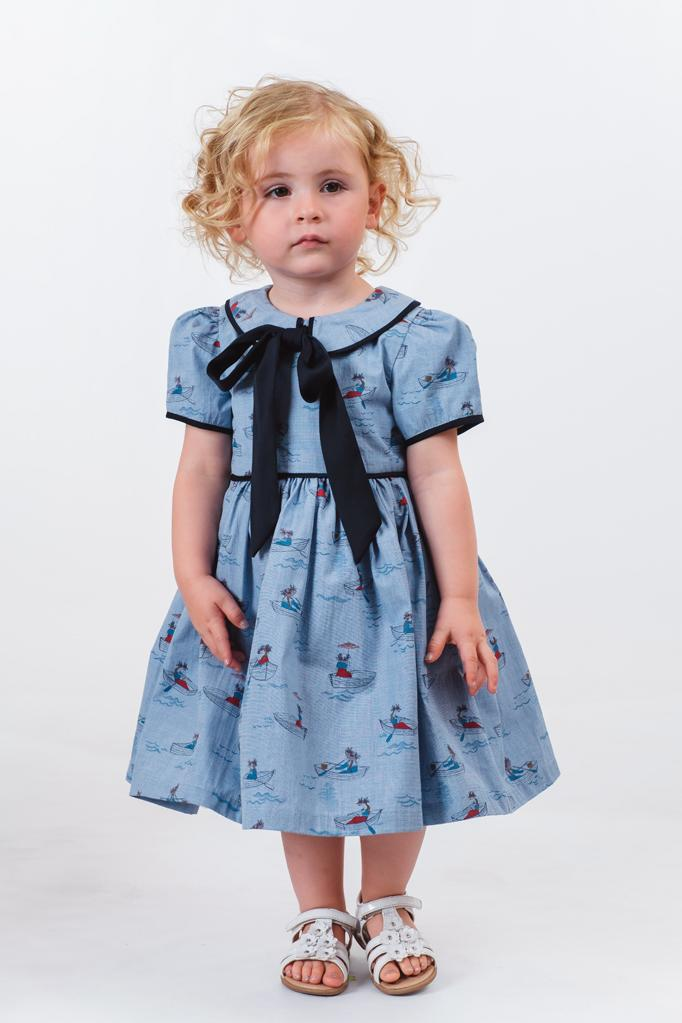 Hermione: Chambray boat print dress