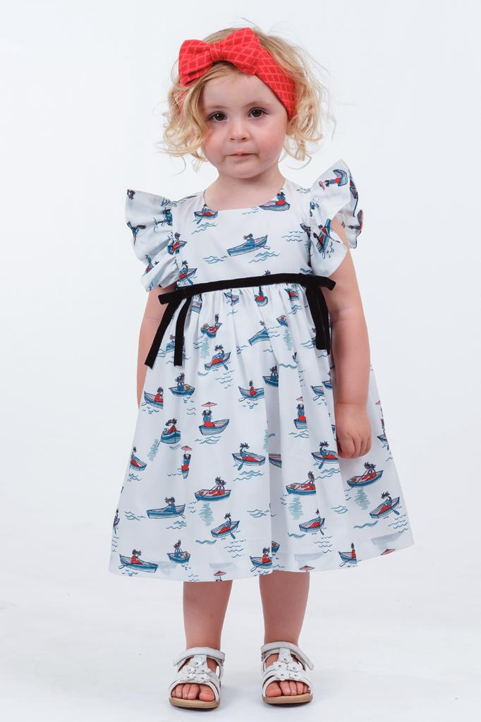 Henrietta: White boat print dress