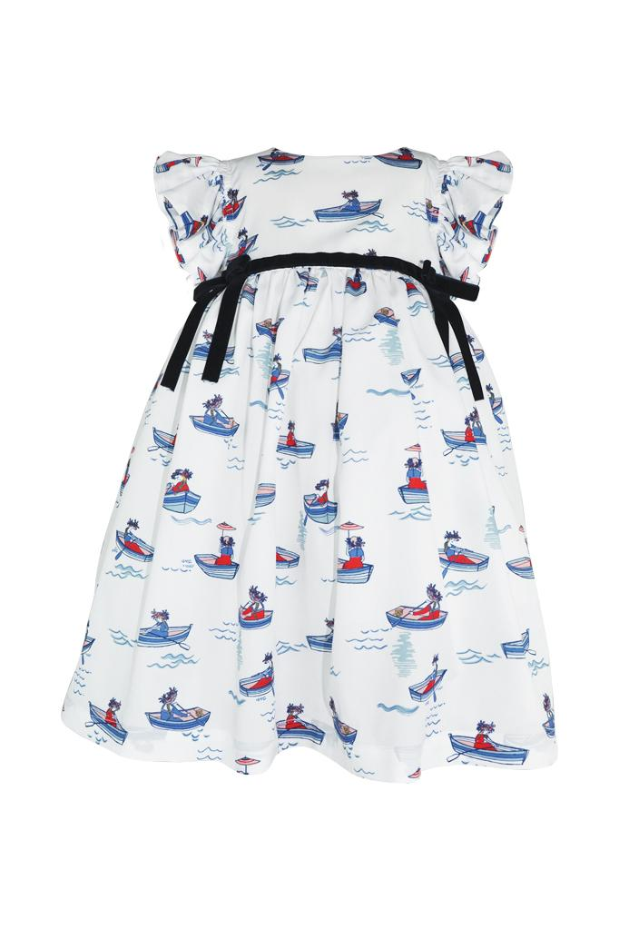 white with a red and blue boat print empire girls dress frill bow navy lined petticoat pettiskirt princess luxury church wedding holiday