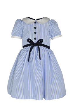 baby pale blue and white stripe pin stripe girls dress trim lace navy buttons bap sleevescollar princess luxury petticoat pettiskirt lined holiday school wedding
