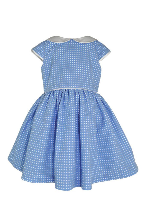 pale baby sky blue jacquard white polka dots spots piping collar girls dress petticoat pettiskirt princess smart wedding holiday