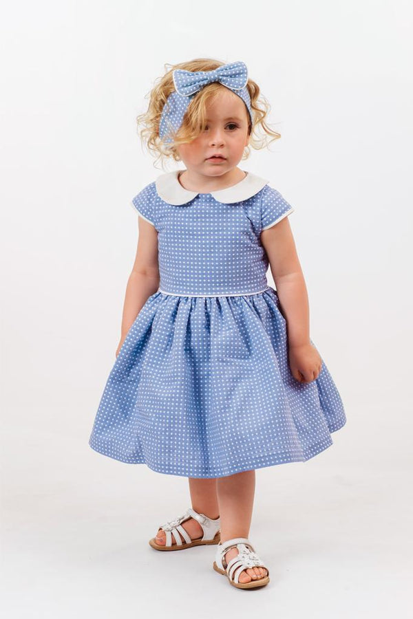 Millicent: Sky blue spot dress