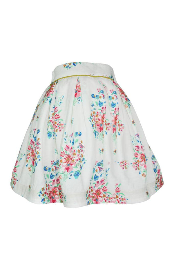 white with bright floral print cotton cheesecloth soft boho trim piping girls skirt petticoat pettiskirt princess holidays casual lined