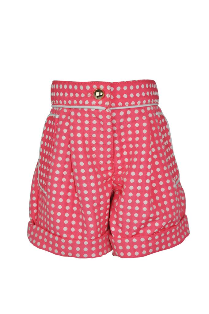 pink coral jacquard textured white polka dot spot girls shorts piped trim pockets luxury holidays wedding casual