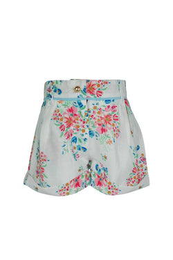 white with bright floral print cotton cheesecloth soft boho trim piping girls shorts princess holidays casual lined