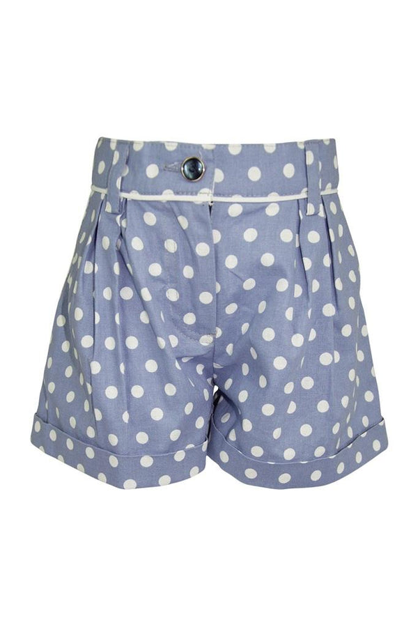 blue baby polka dot white spot girls shorts piping turn ups