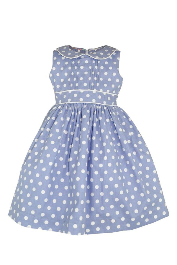 blue baby polka dot white spot petticoat princess party girls dress pin tucks piping collar lined
