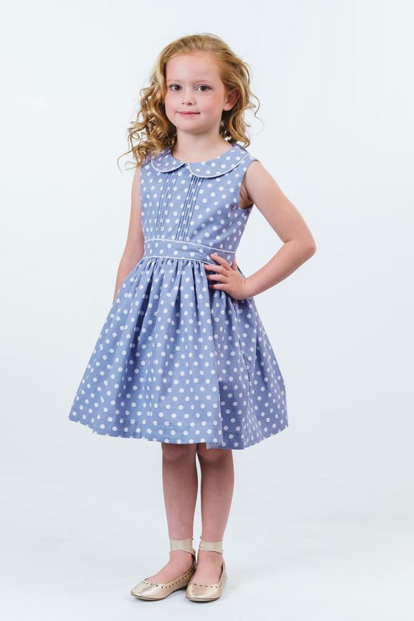 Evelyn: Periwinkle spot dress