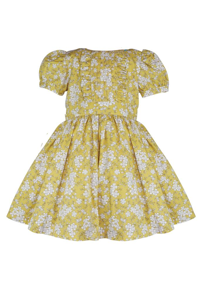 Yellow green cotton petticoat  and pin tuck princess dress with white floral print