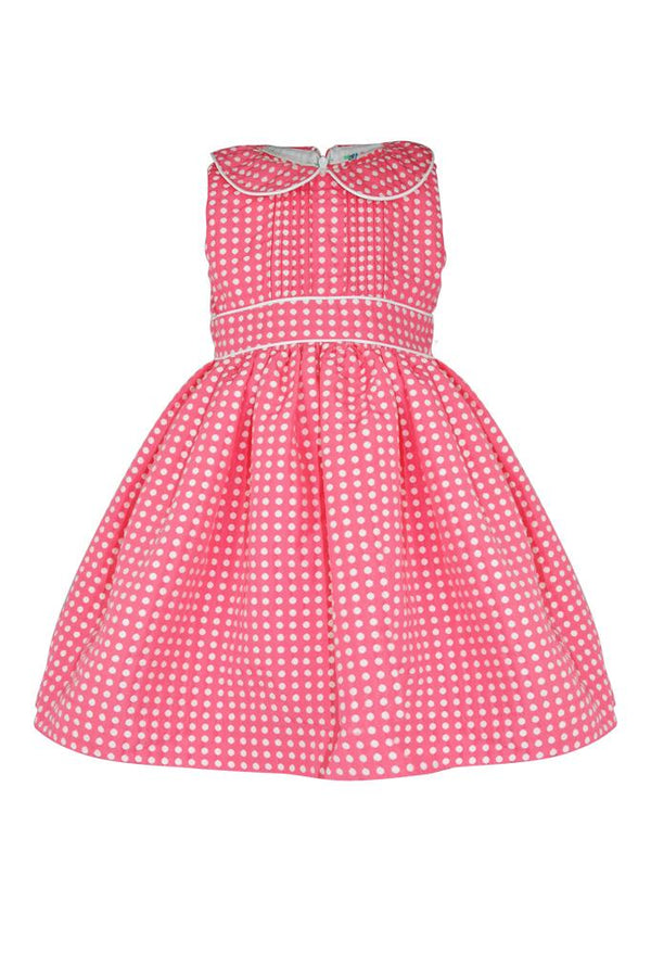 pink coral jacquard textured white polka dot spot girls dress headband piped trim sleeveless petticoat pettiskirt lined pin tuck luxury holidays wedding casual princess